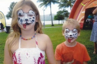 Nikki face painting for Million Paws Walk