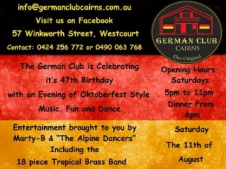 """German Club 47th Birthday with """"The Alpine Dancers """" & The 18 piece Tropical Brass Band"""