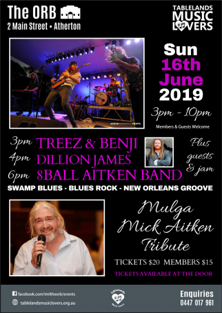 8 Ball Aitken Band, Dillion James, Mulga Mick Tribute at The ORB