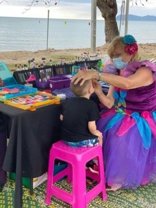 Nikki facepainting at Holloways Beach Seaside Markets