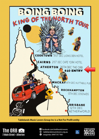 Boing Boing 'King of the North Tour' Atherton w/ Roadtrippers